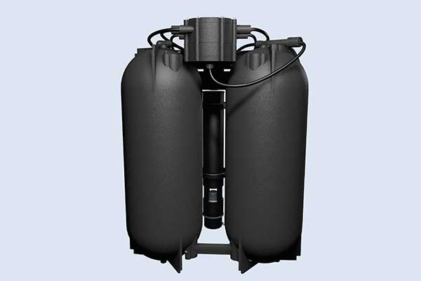 twin cylinders within water softener