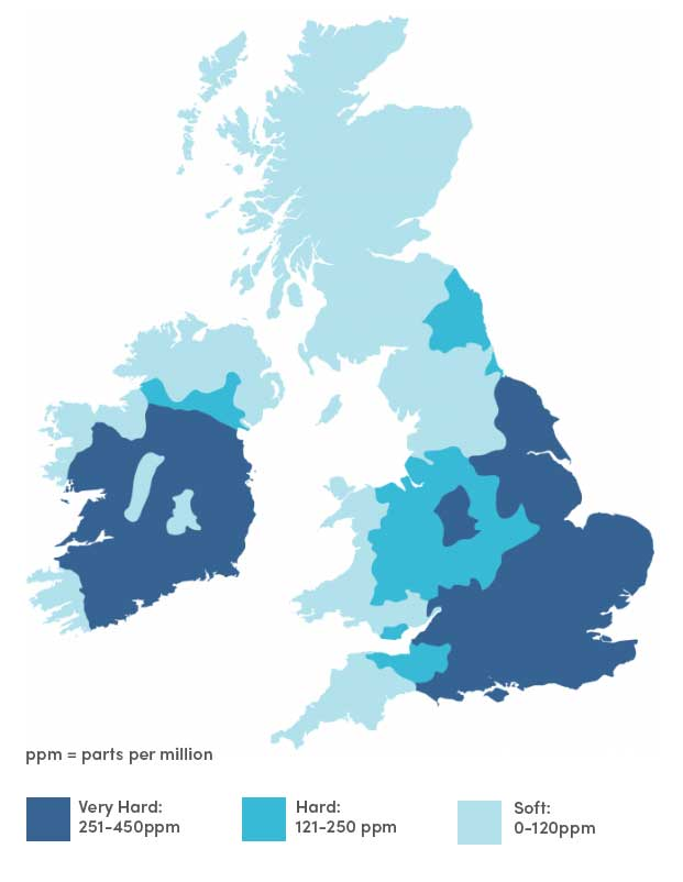 map of hard and soft water areas in UK