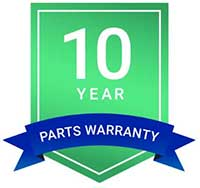 10 yrs parts warranty logo
