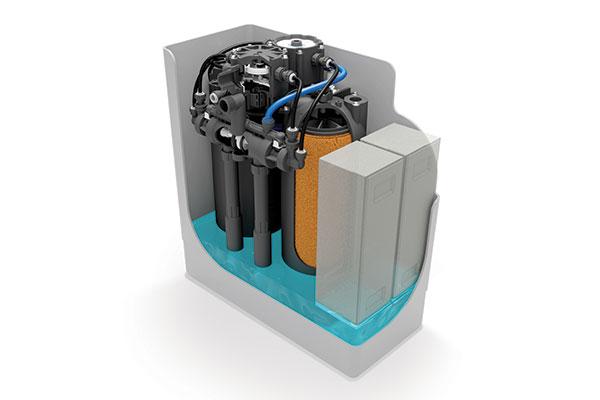 Cutaway diagram of Minimax M3 water softener